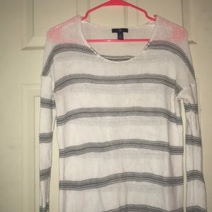Gap Gray and White Striped Scoop Neck Sweater